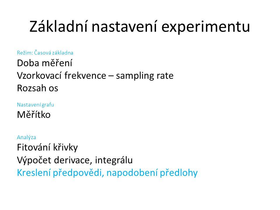 Základní nastavení experimentu Režim: Časová základna Doba měření Vzorkovací frekvence – sampling rate Rozsah os Nastavení grafu Měřítko Analýza Fitov