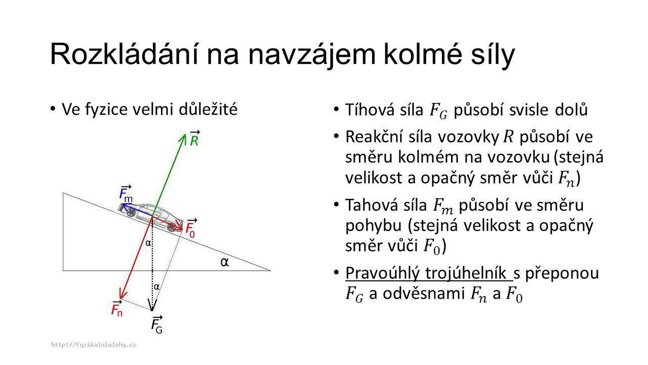 Rozkládání na navzájem kolmé síly Ve fyzice velmi důležité
