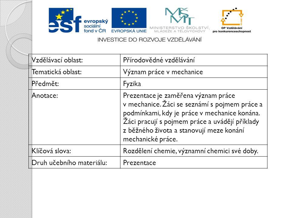 Vzdělávací oblast:Přírodovědné vzdělávání Tematická oblast:Význam práce v mechanice Předmět:Fyzika Anotace:Prezentace je zaměřena význam práce v mechanice.