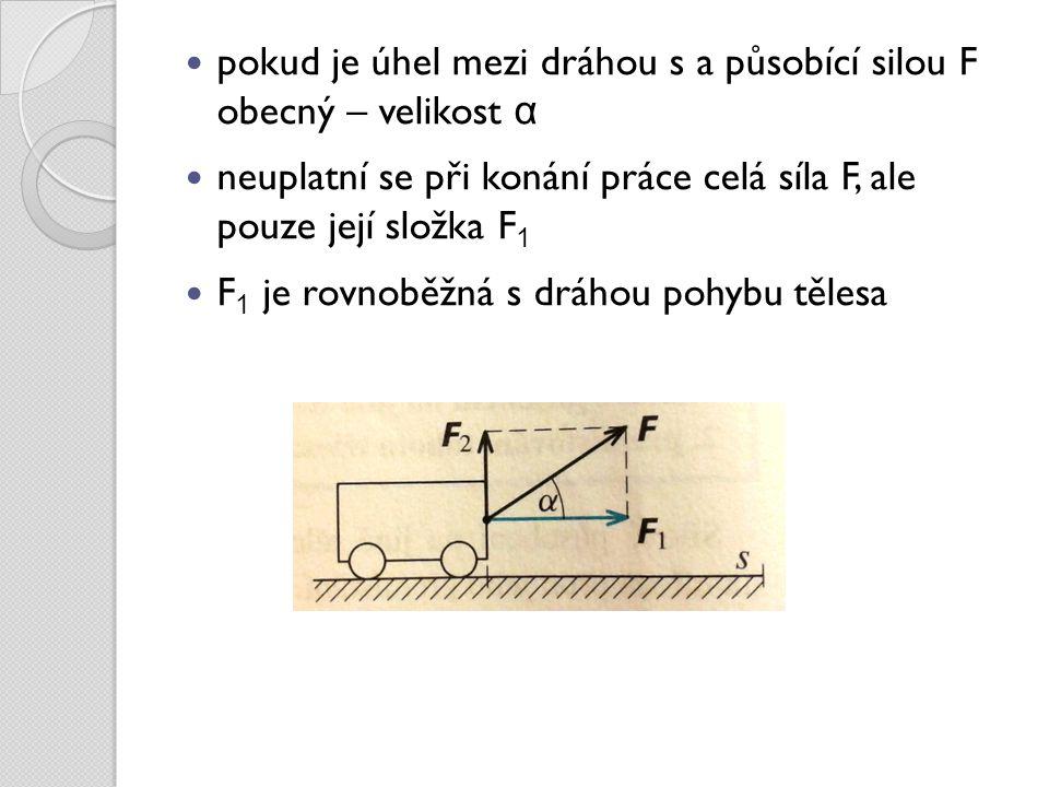 pokud je úhel mezi dráhou s a působící silou F obecný – velikost α neuplatní se při konání práce celá síla F, ale pouze její složka F 1 F 1 je rovnoběžná s dráhou pohybu tělesa