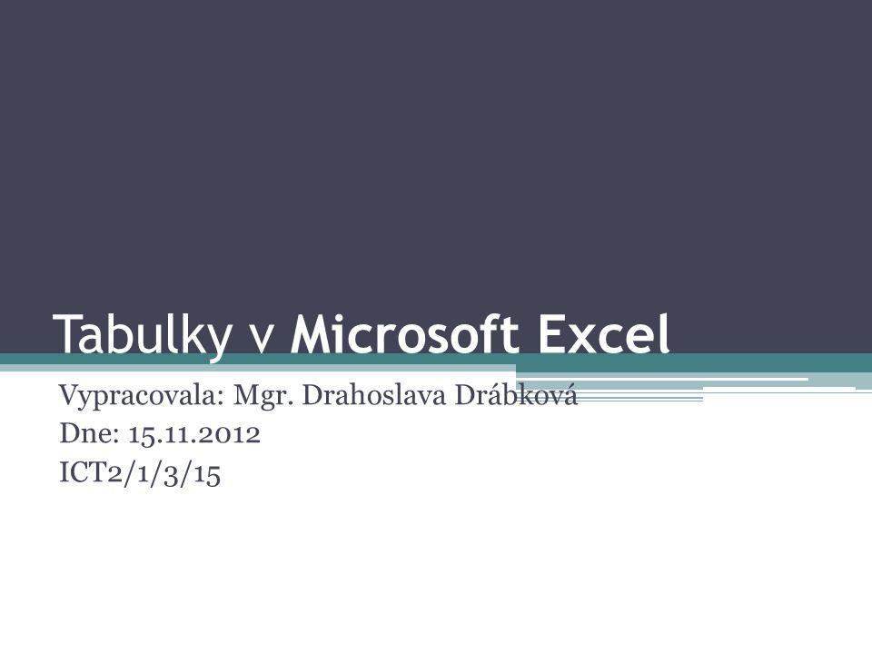 Tabulky v Microsoft Excel Vypracovala: Mgr. Drahoslava Drábková Dne: 15.11.2012 ICT2/1/3/15