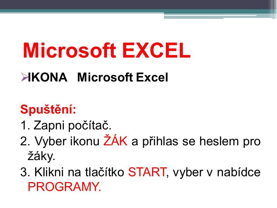 Microsoft EXCEL  IKONA Microsoft Excel Spuštění: 1.