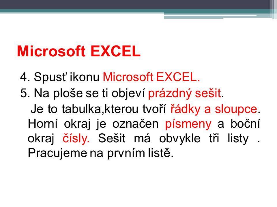Microsoft EXCEL 4. Spusť ikonu Microsoft EXCEL. 5. Na ploše se ti objeví prázdný sešit. Je to tabulka,kterou tvoří řádky a sloupce. Horní okraj je ozn