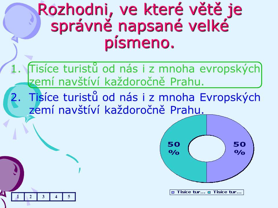 Rozhodni, ve které větě je správně napsané velké písmeno. 1.Tisíce turistů od nás i z mnoha evropských zemí navštíví každoročně Prahu. 2.Tisíce turist