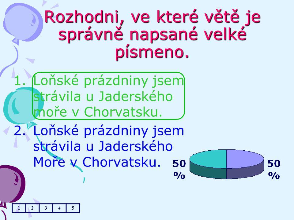 Rozhodni, ve které větě je správně napsané velké písmeno. 1.Loňské prázdniny jsem strávila u Jaderského moře v Chorvatsku. 2.Loňské prázdniny jsem str