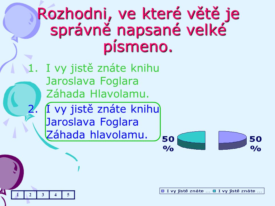 Rozhodni, ve které větě je správně napsané velké písmeno. 1.I vy jistě znáte knihu Jaroslava Foglara Záhada Hlavolamu. 2.I vy jistě znáte knihu Jarosl
