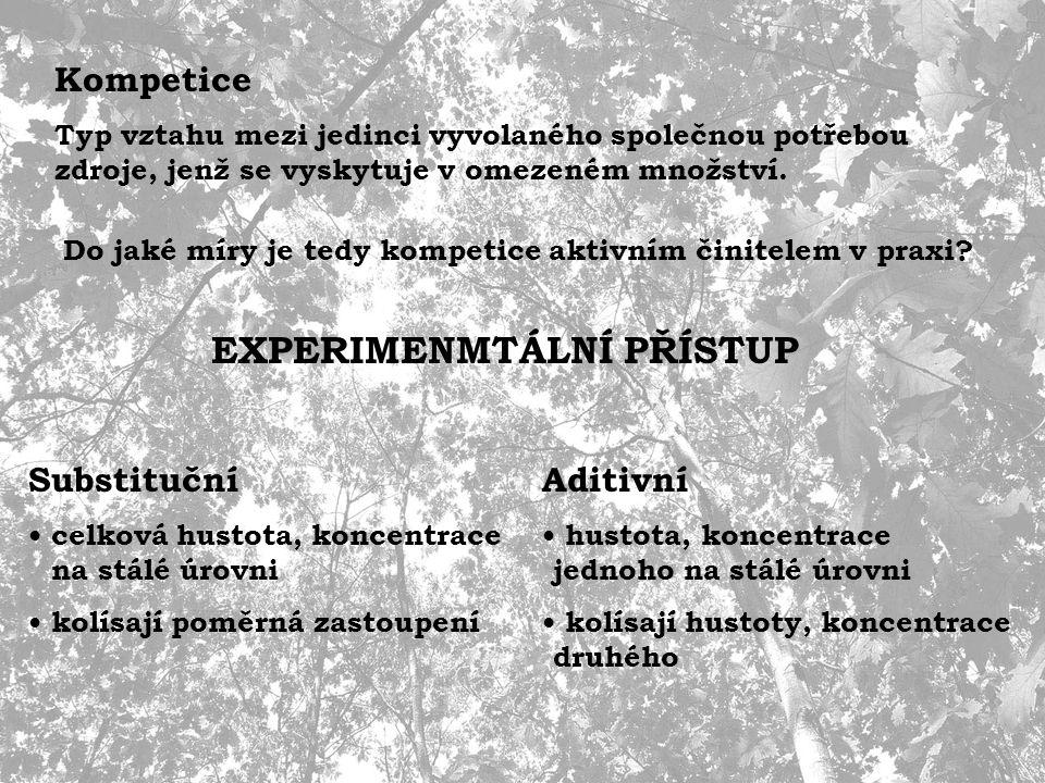 Studium kompetice 1.NEPŘÍMÉ - prostorové rozmístění (spatial pattern) 2.