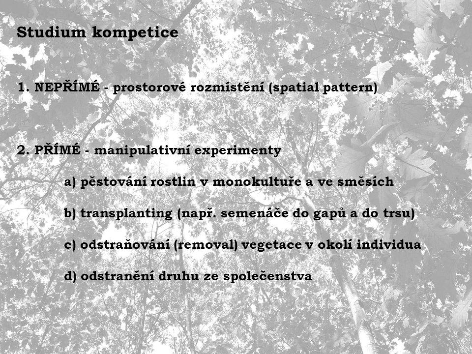 Studium kompetice 1. NEPŘÍMÉ - prostorové rozmístění (spatial pattern) 2.