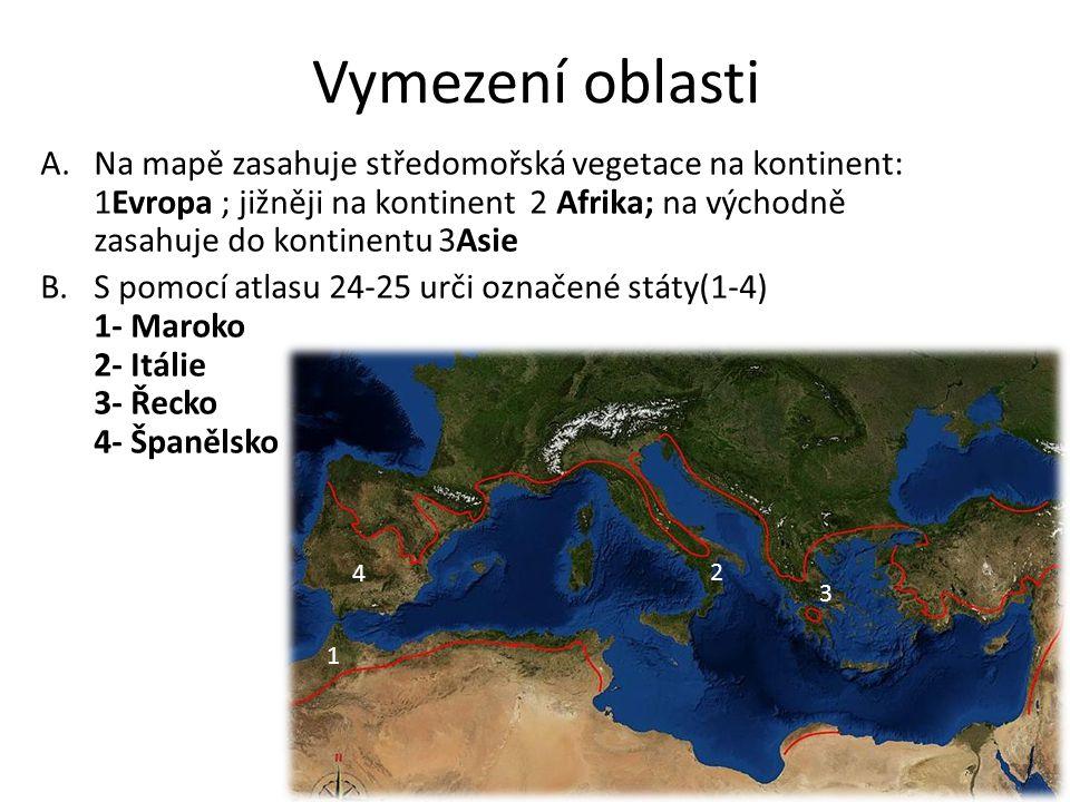 Vymezení oblasti A.Na mapě zasahuje středomořská vegetace na kontinent: 1Evropa ; jižněji na kontinent 2 Afrika; na východně zasahuje do kontinentu 3Asie B.S pomocí atlasu 24-25 urči označené státy(1-4) 1- Maroko 2- Itálie 3- Řecko 4- Španělsko 3 4 2 1