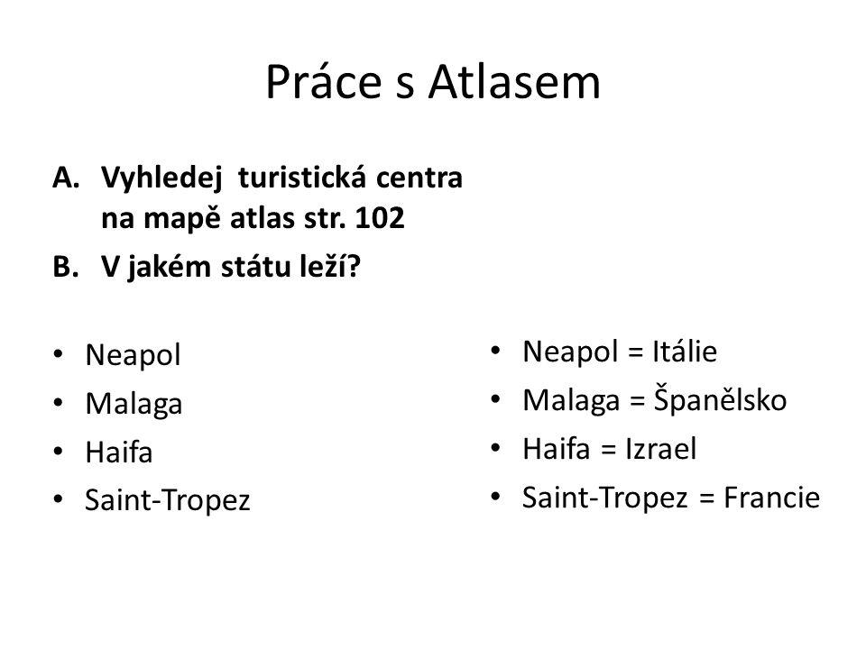 Práce s Atlasem A.Vyhledej turistická centra na mapě atlas str. 102 B.V jakém státu leží? Neapol Malaga Haifa Saint-Tropez Neapol = Itálie Malaga = Šp