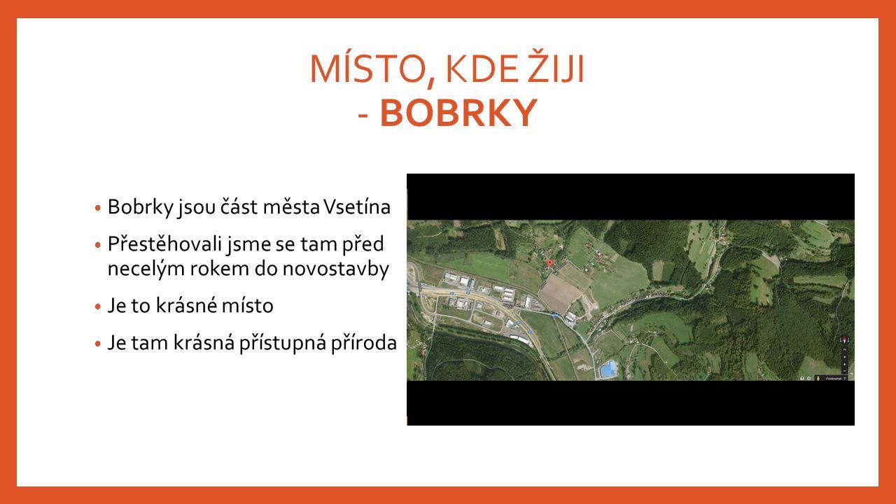 MÍSTO, KDE ŽIJI - BOBRKY Bobrky jsou část města Vsetína Přestěhovali jsme se tam před necelým rokem do novostavby Je to krásné místo Je tam krásná pří