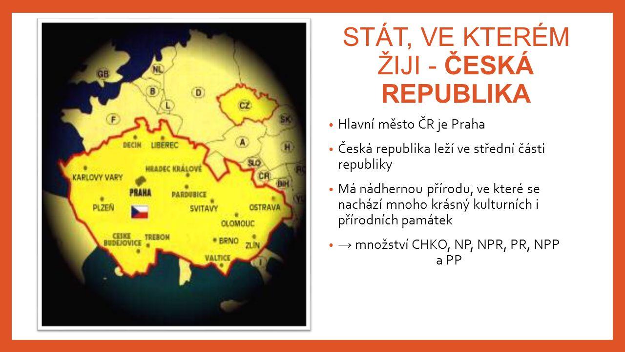 STÁT, VE KTERÉM ŽIJI - ČESKÁ REPUBLIKA Hlavní město ČR je Praha Česká republika leží ve střední části republiky Má nádhernou přírodu, ve které se nach