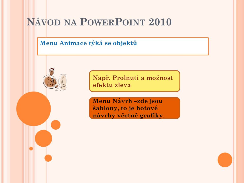 N ÁVOD NA P OWER P OINT 2010 Např. Prolnutí a možnost efektu zleva Menu Návrh –zde jsou šablony, to je hotové návrhy včetně grafiky.