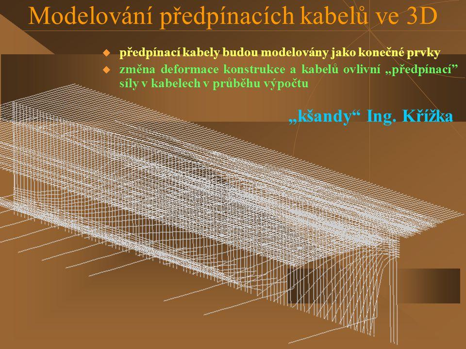 """Modelování předpínacích kabelů ve 3D  předpínací kabely budou modelovány jako konečné prvky  změna deformace konstrukce a kabelů ovlivní """"předpínací"""