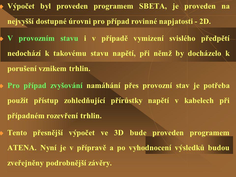  Výpočet byl proveden programem SBETA, je proveden na nejvyšší dostupné úrovni pro případ rovinné napjatosti - 2D.  V provozním stavu i v případě vy