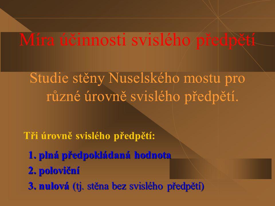 Celkový pohled na Nuselský most s označením řešeného výseku Popis řešeného výseku Rovnováha konstrukce je zajištěna vnesením koncových vnitřních sil na výřezu stěny