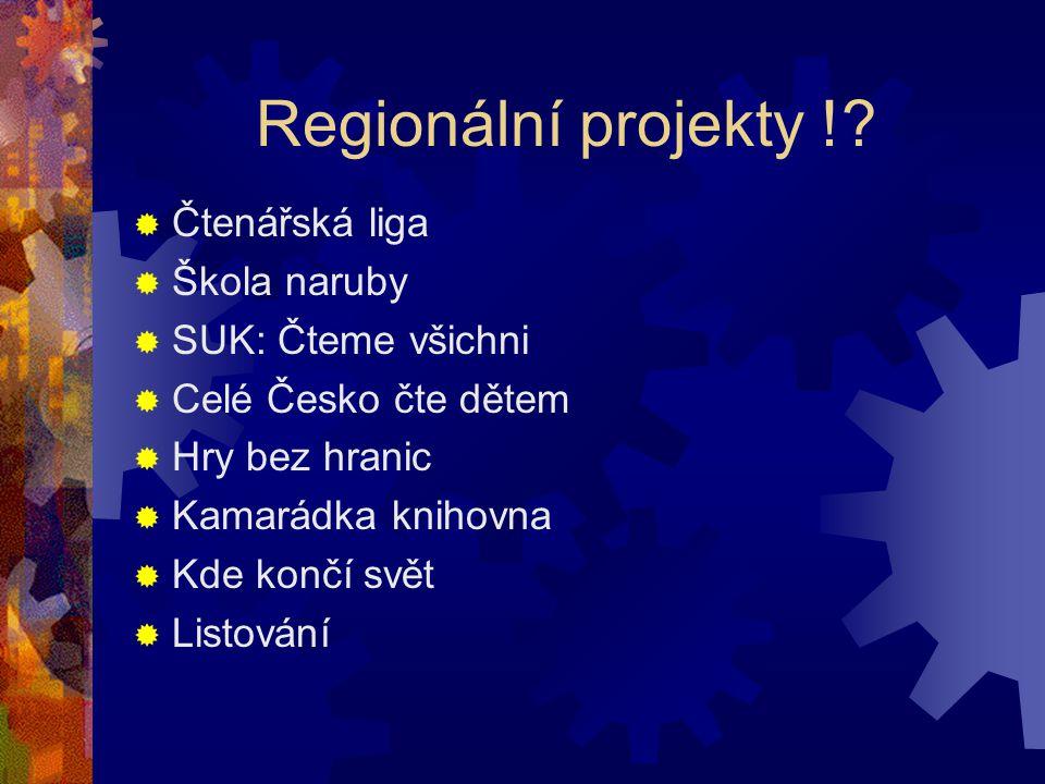 Regionální projekty !?  Čtenářská liga  Škola naruby  SUK: Čteme všichni  Celé Česko čte dětem  Hry bez hranic  Kamarádka knihovna  Kde končí s