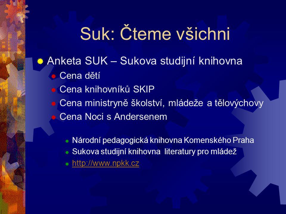 Suk: Čteme všichni  Anketa SUK – Sukova studijní knihovna  Cena dětí  Cena knihovníků SKIP  Cena ministryně školství, mládeže a tělovýchovy  Cena