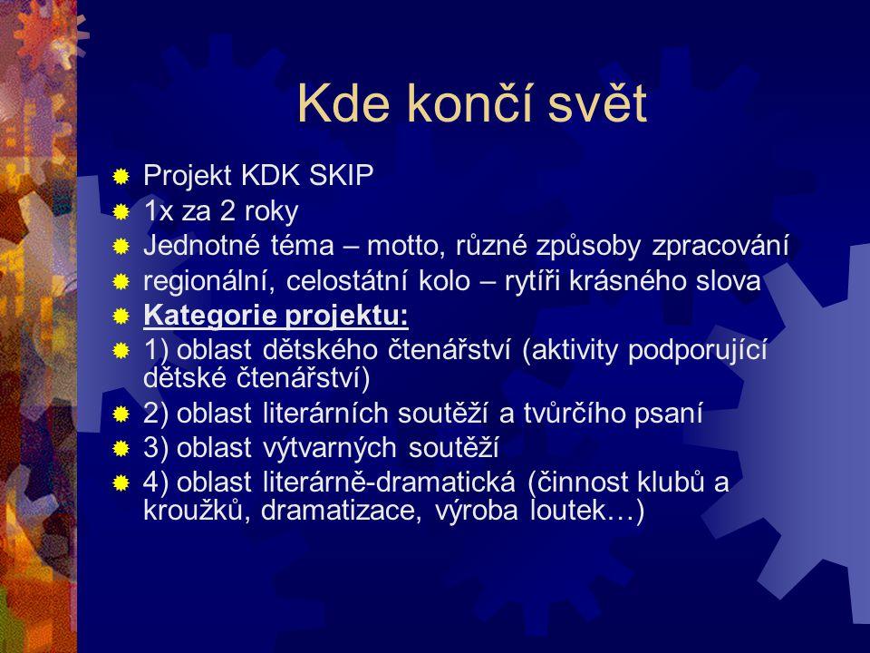 Kde končí svět  Projekt KDK SKIP  1x za 2 roky  Jednotné téma – motto, různé způsoby zpracování  regionální, celostátní kolo – rytíři krásného slova  Kategorie projektu:  1) oblast dětského čtenářství (aktivity podporující dětské čtenářství)  2) oblast literárních soutěží a tvůrčího psaní  3) oblast výtvarných soutěží  4) oblast literárně-dramatická (činnost klubů a kroužků, dramatizace, výroba loutek…)
