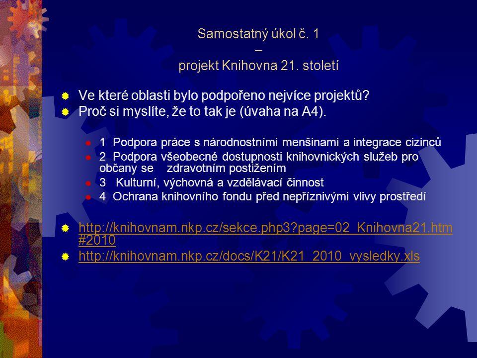 Samostatný úkol č. 1 – projekt Knihovna 21.