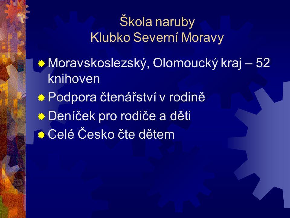 Škola naruby Klubko Severní Moravy  Moravskoslezský, Olomoucký kraj – 52 knihoven  Podpora čtenářství v rodině  Deníček pro rodiče a děti  Celé Česko čte dětem