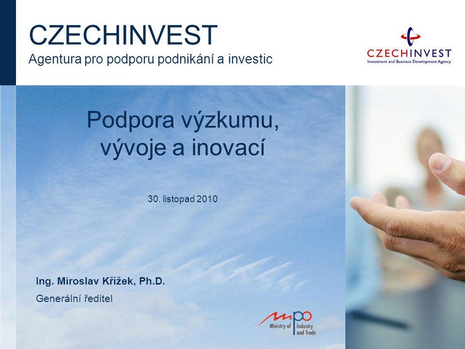 Podpora výzkumu, vývoje a inovací 30. listopad 2010 CZECHINVEST Agentura pro podporu podnikání a investic Ing. Miroslav Křížek, Ph.D. Generální ředite