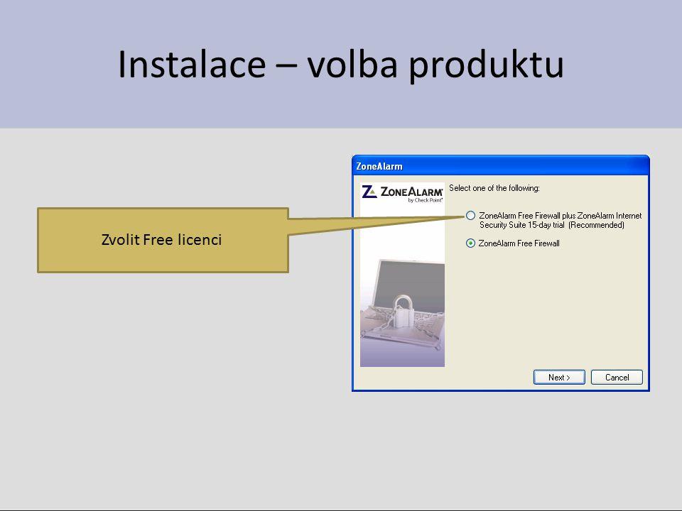 Instalace – volba produktu Zvolit Free licenci
