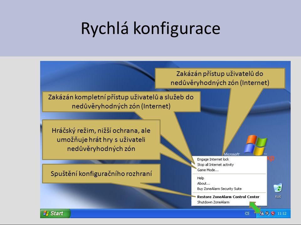 Rychlá konfigurace Zakázán přístup uživatelů do nedůvěryhodných zón (Internet) Zakázán kompletní přístup uživatelů a služeb do nedůvěryhodných zón (Internet) Hráčský režim, nižší ochrana, ale umožňuje hrát hry s uživateli nedůvěryhodných zón Spuštění konfiguračního rozhraní