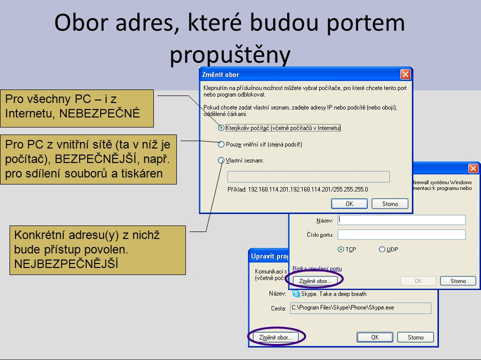 Obor adres, které budou portem propuštěny Pro všechny PC – i z Internetu, NEBEZPEČNÉ Pro PC z vnitřní sítě (ta v níž je počítač), BEZPEČNĚJŠÍ, např. p