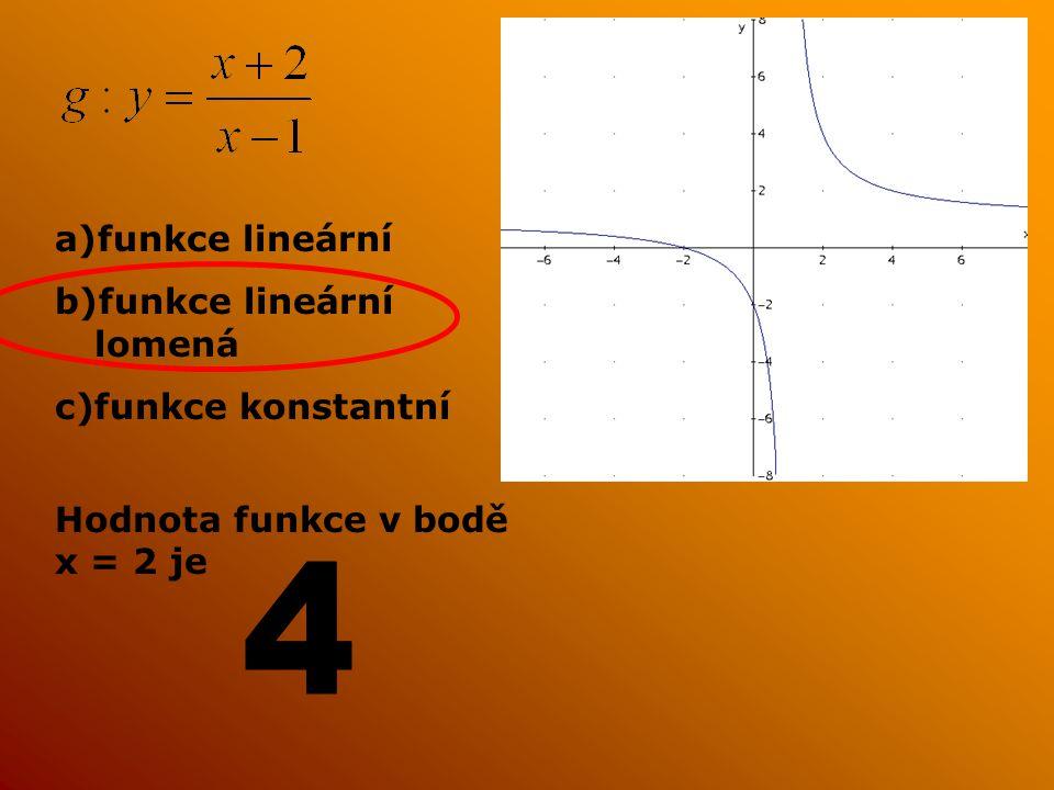a)funkce lineární b)funkce lineární lomená c)funkce konstantní Hodnota funkce v bodě x = 2 je