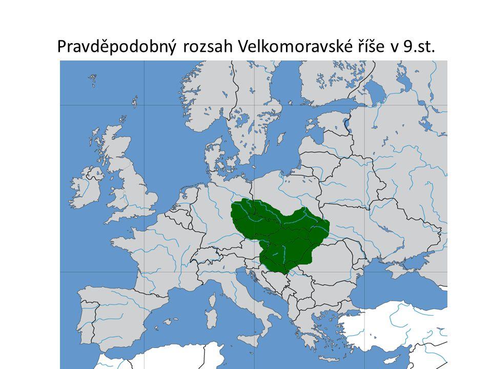 Pravděpodobný rozsah Velkomoravské říše v 9.st.