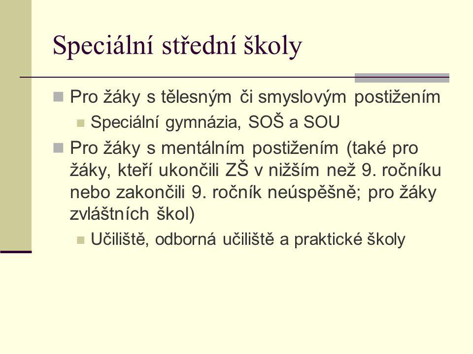 Speciální střední školy Pro žáky s tělesným či smyslovým postižením Speciální gymnázia, SOŠ a SOU Pro žáky s mentálním postižením (také pro žáky, kteř