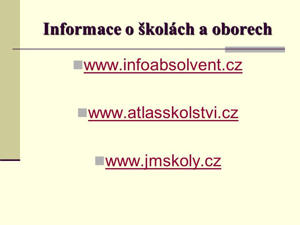 Informace o školách a oborech www.infoabsolvent.cz www.atlasskolstvi.cz www.jmskoly.cz