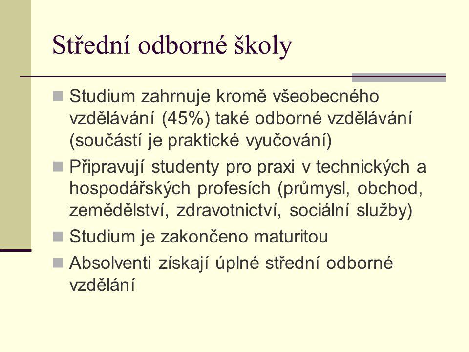 Střední odborné školy Studium zahrnuje kromě všeobecného vzdělávání (45%) také odborné vzdělávání (součástí je praktické vyučování) Připravují student