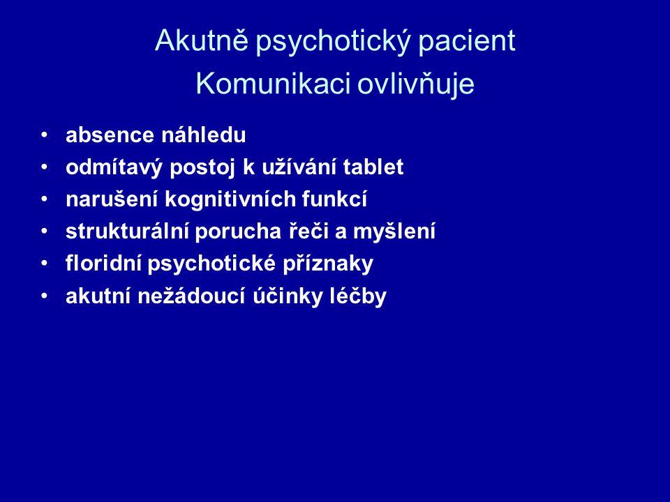 Akutně psychotický pacient Komunikaci ovlivňuje absence náhledu odmítavý postoj k užívání tablet narušení kognitivních funkcí strukturální porucha řeč