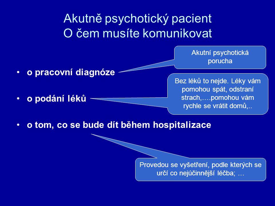 Akutně psychotický pacient O čem musíte komunikovat o pracovní diagnóze o podání léků o tom, co se bude dít během hospitalizace Akutní psychotická por
