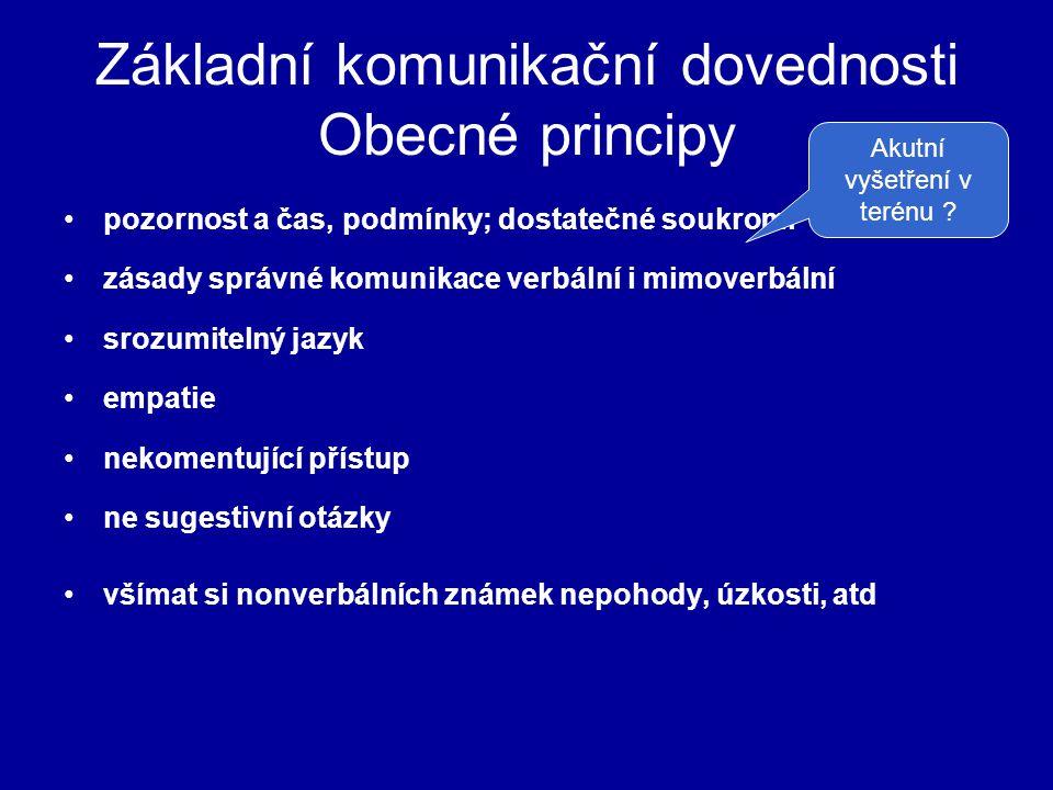 Základní komunikační dovednosti Obecné principy pozornost a čas, podmínky; dostatečné soukromí zásady správné komunikace verbální i mimoverbální srozu