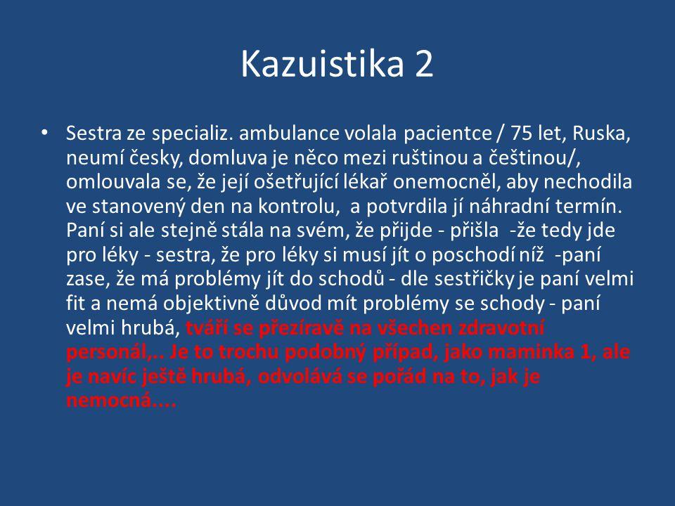 Kazuistika 2 Sestra ze specializ. ambulance volala pacientce / 75 let, Ruska, neumí česky, domluva je něco mezi ruštinou a češtinou/, omlouvala se, že