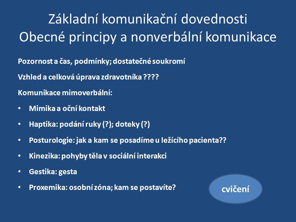 Základní komunikační dovednosti Obecné principy a nonverbální komunikace Pozornost a čas, podmínky; dostatečné soukromí Vzhled a celková úprava zdravo