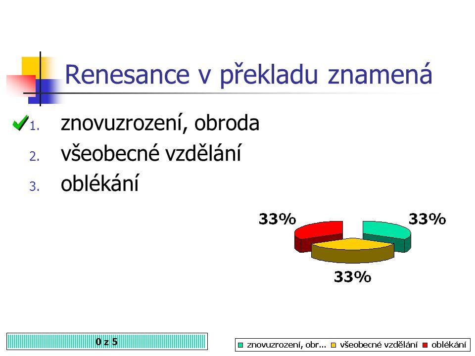 Renesance vznikla v Itálii na konci 0 z 5 1. 14. století 2. 13. století 3. 16. století