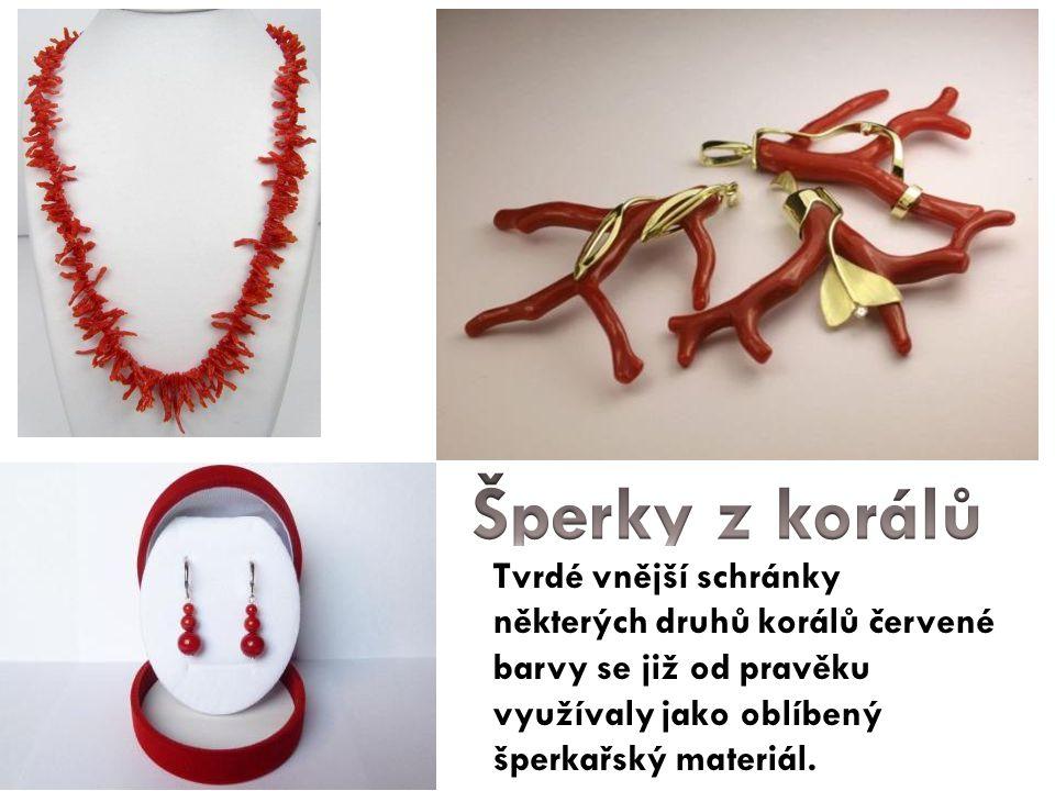 Tvrdé vnější schránky některých druhů korálů červené barvy se již od pravěku využívaly jako oblíbený šperkařský materiál.