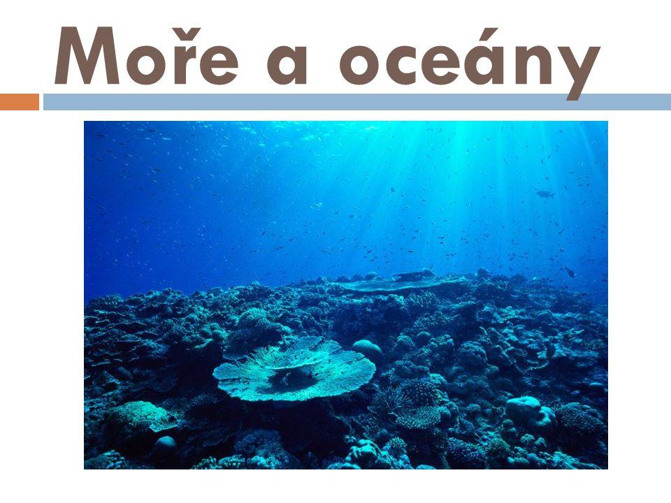 Moře a oceány zabírají přes 70% povrchu Země; různé podmínky – např.