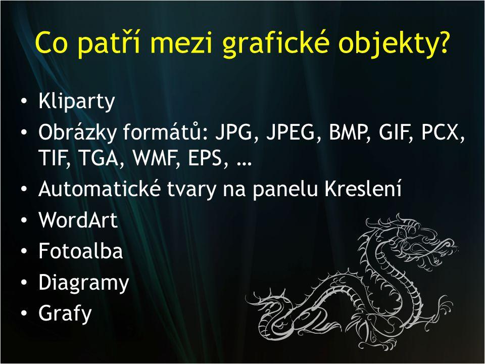 Co patří mezi grafické objekty? Kliparty Obrázky formátů: JPG, JPEG, BMP, GIF, PCX, TIF, TGA, WMF, EPS, … Automatické tvary na panelu Kreslení WordArt