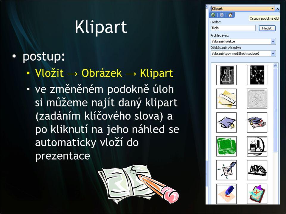 Klipart postup: Vložit → Obrázek → Klipart ve změněném podokně úloh si můžeme najít daný klipart (zadáním klíčového slova) a po kliknutí na jeho náhled se automaticky vloží do prezentace