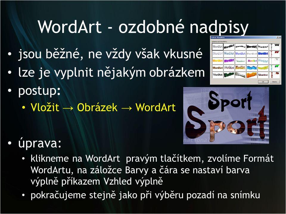 WordArt - ozdobné nadpisy jsou běžné, ne vždy však vkusné lze je vyplnit nějakým obrázkem postup: Vložit → Obrázek → WordArt úprava: klikneme na WordA
