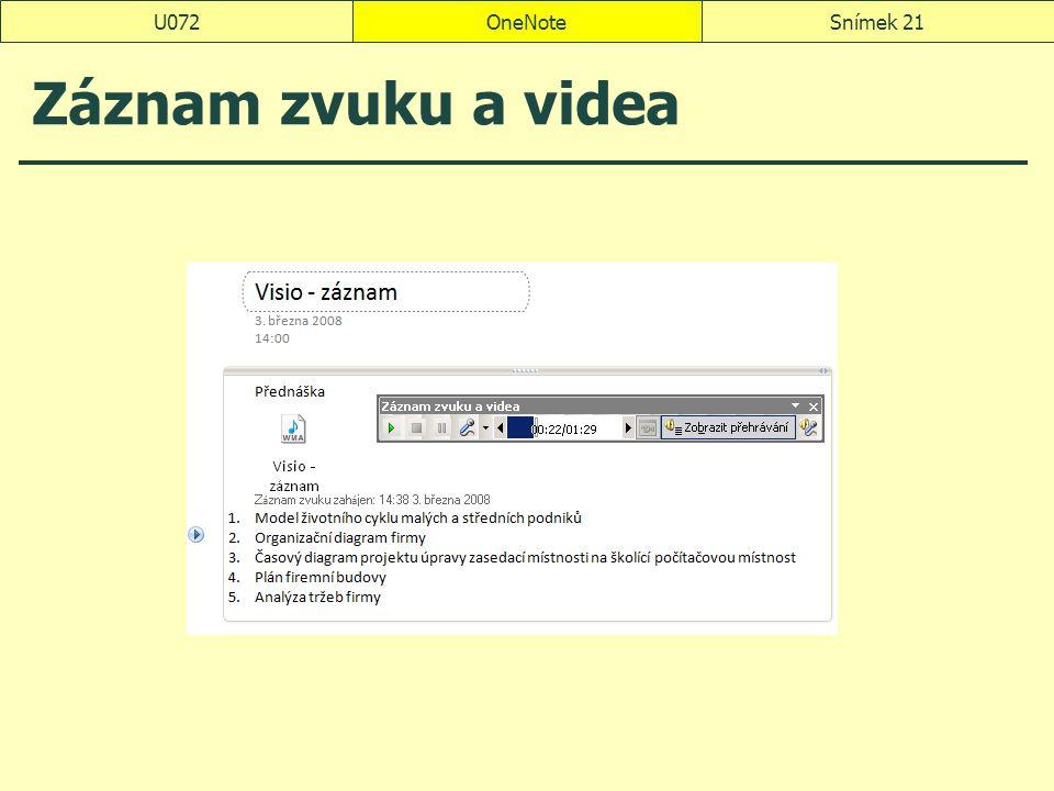 OneNoteSnímek 21U072 Záznam zvuku a videa