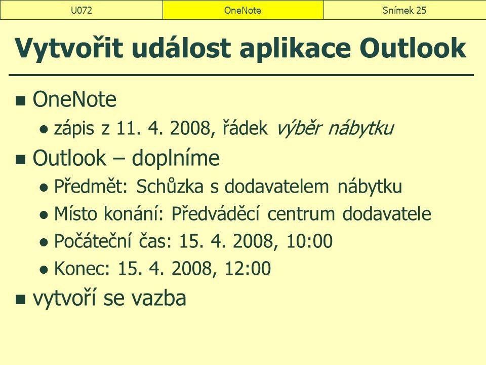 OneNoteSnímek 25U072 Vytvořit událost aplikace Outlook OneNote zápis z 11. 4. 2008, řádek výběr nábytku Outlook – doplníme Předmět: Schůzka s dodavate