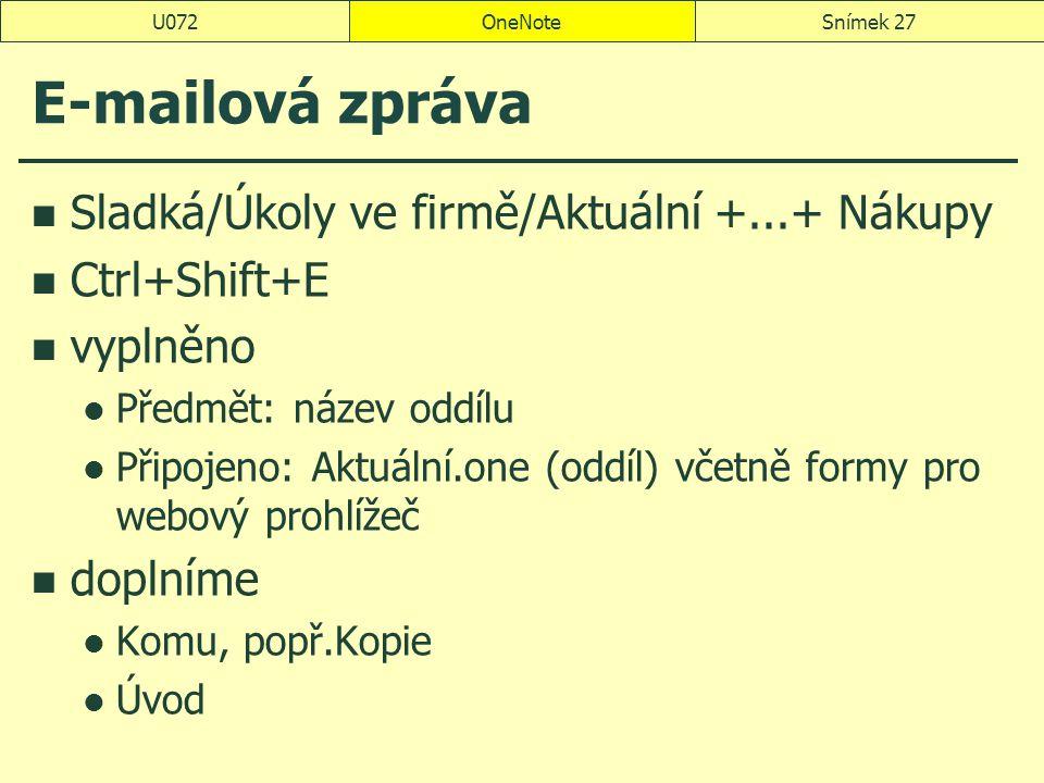 OneNoteSnímek 27U072 E-mailová zpráva Sladká/Úkoly ve firmě/Aktuální +...+ Nákupy Ctrl+Shift+E vyplněno Předmět: název oddílu Připojeno: Aktuální.one