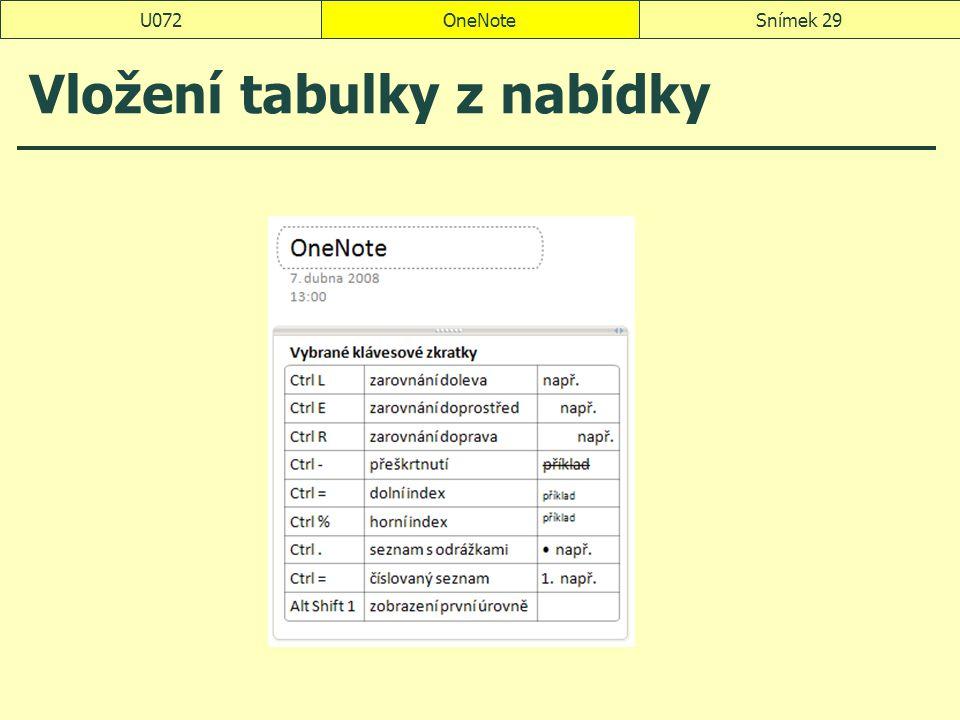 OneNoteSnímek 29U072 Vložení tabulky z nabídky