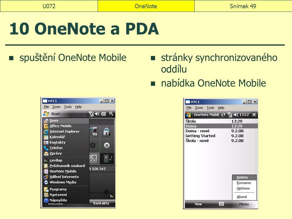 OneNoteSnímek 49U072 10 OneNote a PDA spuštění OneNote Mobile stránky synchronizovaného oddílu nabídka OneNote Mobile